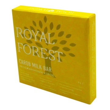 Royal Forest. ROYAL FOREST CAROB MILK BAR (необжаренный кэроб), 75 гр.